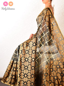 Grey Banarasi Cutwork Brocade Handwoven Kora (कोरा) Silk Saree - HolyWeaves