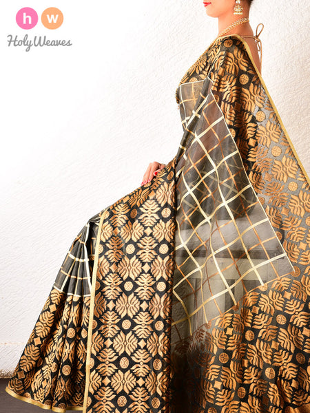 Grey Banarasi Cutwork Brocade Handwoven Kora Silk Saree