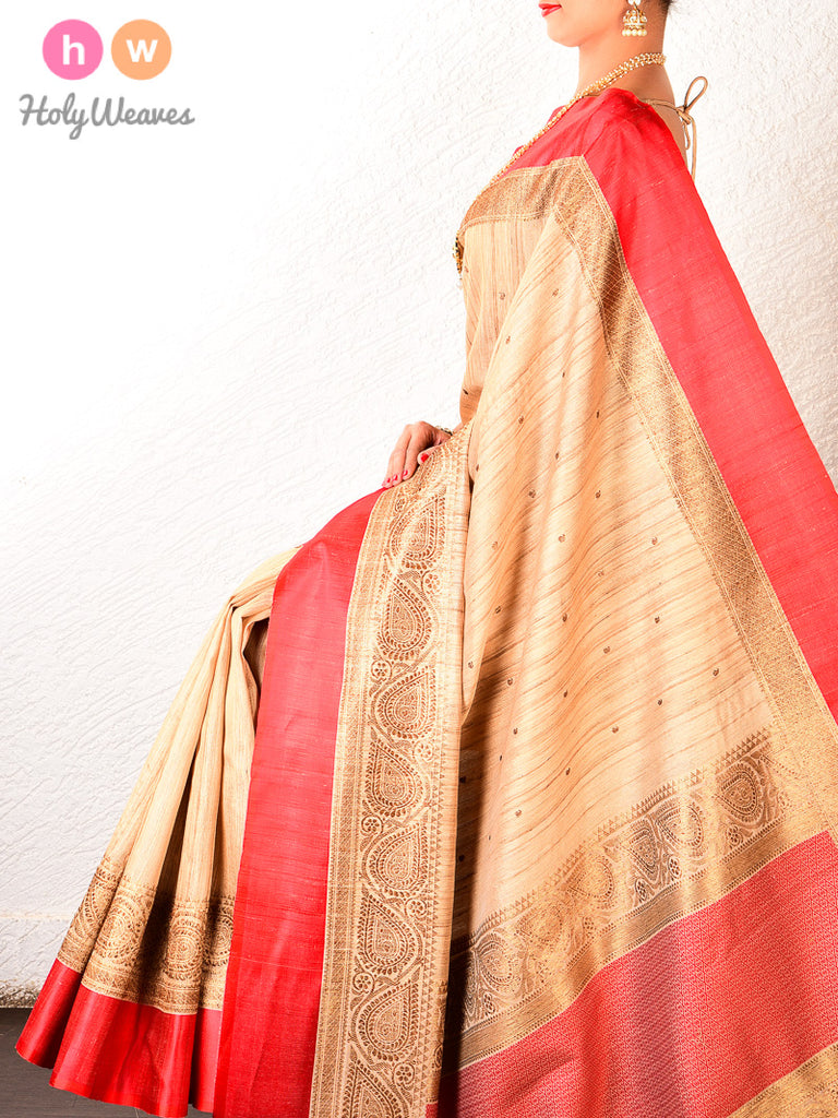 Beige-Red Banarasi Cutwork Brocade Handwoven Tasar Silk Saree - HolyWeaves