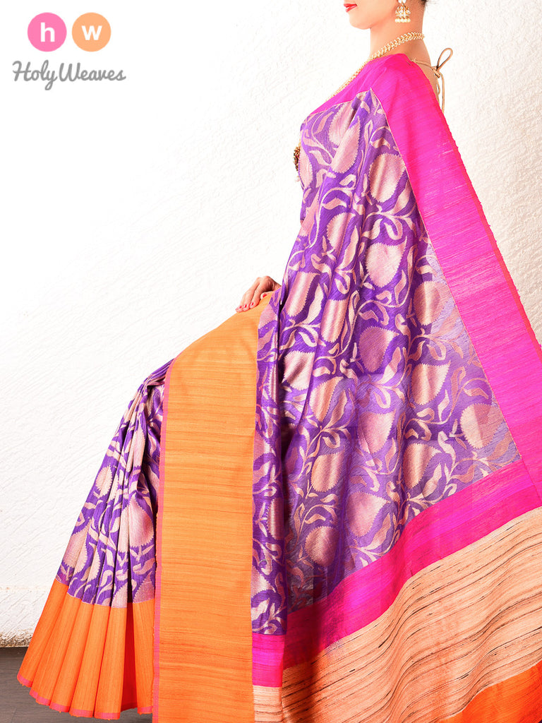 Purple Banarasi Cutwork Brocade Handwoven Linen Silk Saree - HolyWeaves