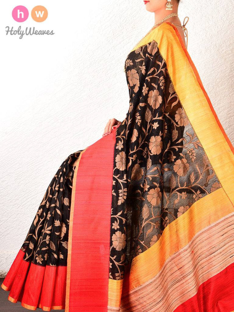 Black Banarasi Cutwork Brocade Handwoven Linen Silk Saree
