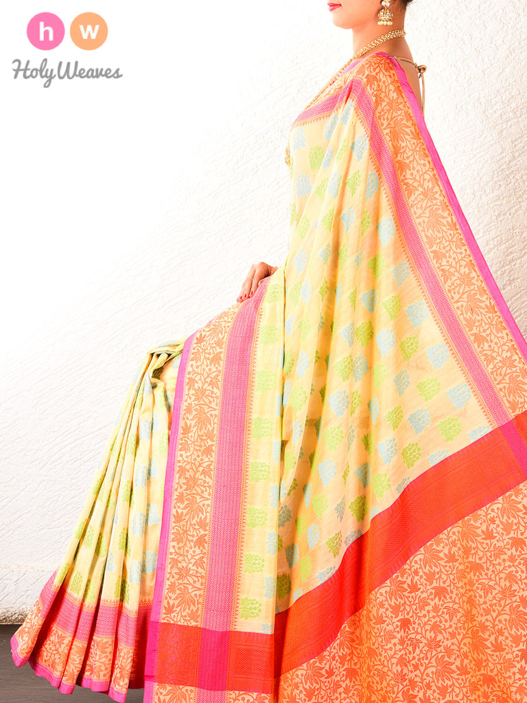 Light Yellow Cutwork Brocade Woven Art Cotton Silk Saree