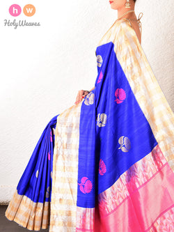 Blue Banarasi Kadhuan (कढ़ुआँ) Brocade Handwoven Raw Silk Saree- HolyWeaves