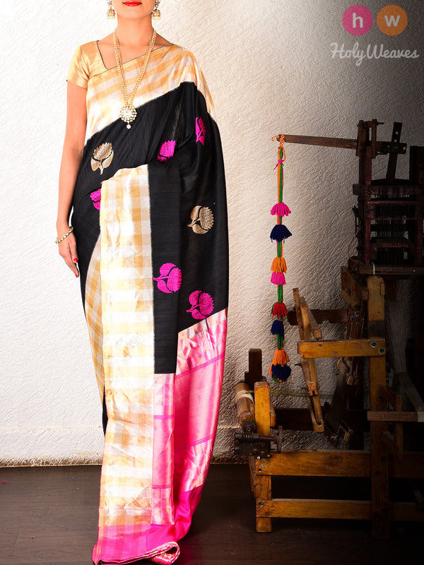 Black Banarasi Kadhuan (कढ़ुआँ) Brocade Handwoven Raw Silk Saree- HolyWeaves
