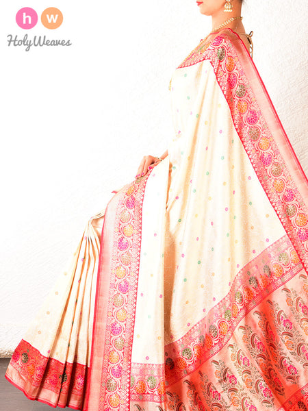 Cream Banarasi Cutwork Brocade Handwoven Katan Silk Saree