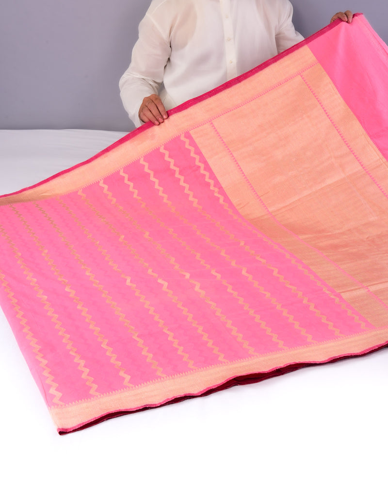Pink Striped Chevron Cutwork Brocade Handwoven Pure Cotton Silk Saree