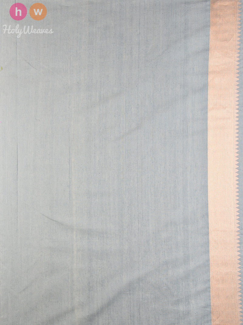 Grey Striped Chevron Cutwork Brocade Handwoven Pure Cotton Silk Saree - HolyWeaves