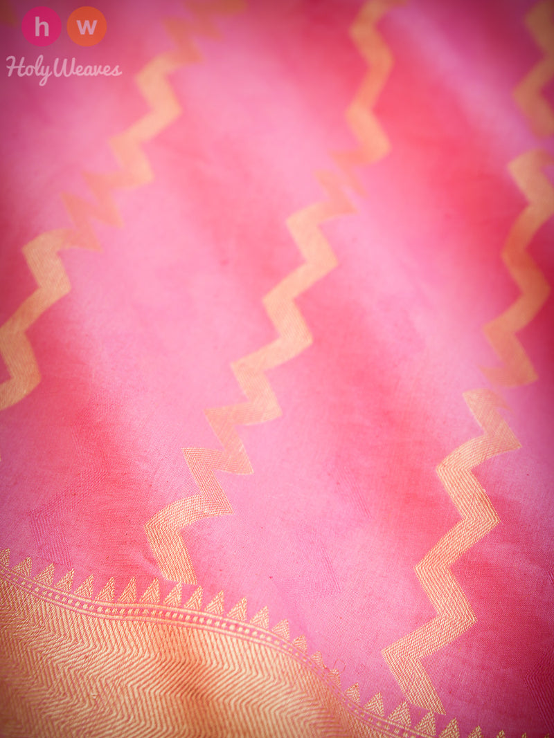 Pink Striped Chevron Cutwork Brocade Handwoven Pure Cotton Silk Saree - HolyWeaves