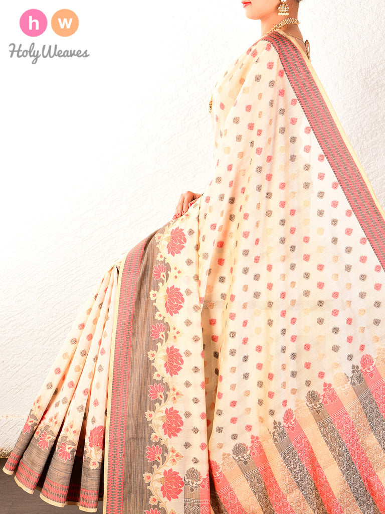 Cream Cutwork Brocade Woven Cotton Silk Saree - HolyWeaves