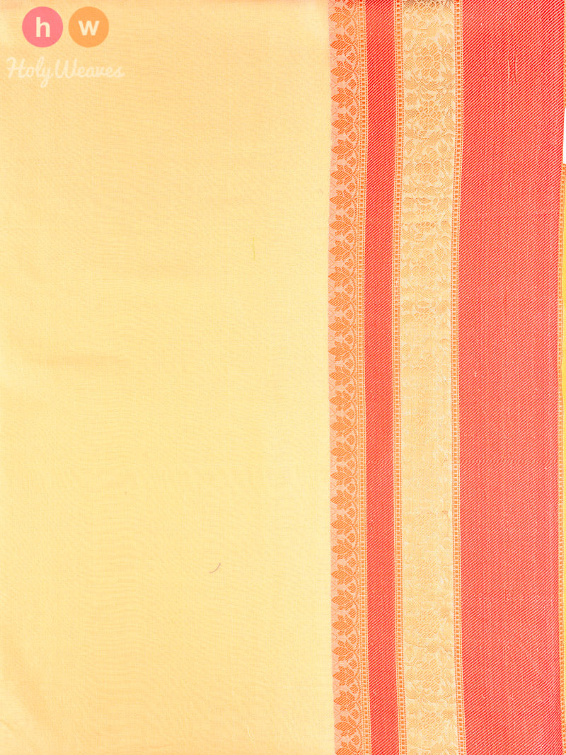 Light Yellow Cutwork Brocade Woven Art Cotton Silk Saree - HolyWeaves