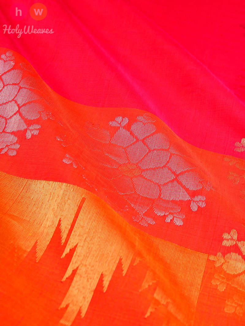 Pink Kadhuan (कढ़ुआँ) Brocade Handwoven Pure Cotton Silk Saree- HolyWeaves