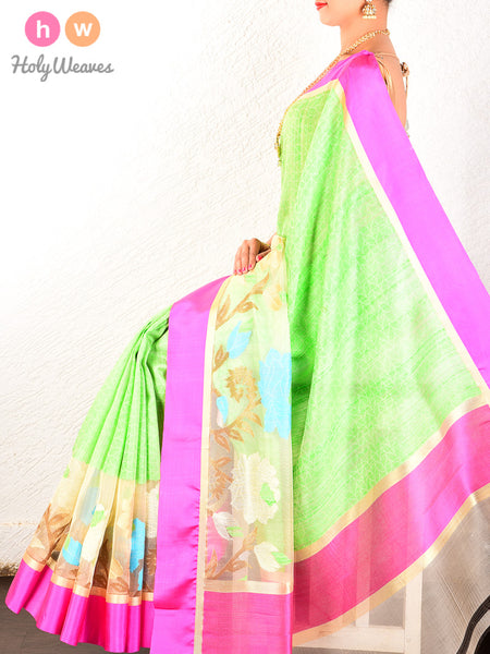 Green Banarasi Cutwork Brocade Handwoven Kora Silk Saree