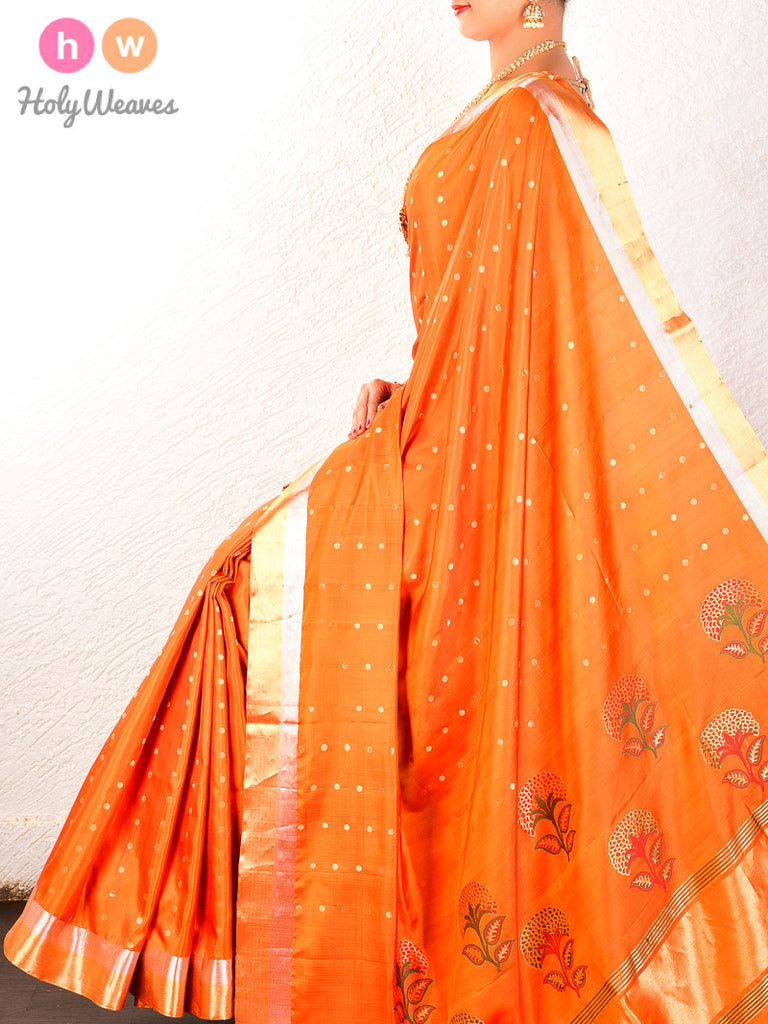 Orange Cutwork Brocade Handwoven Pure Silk Saree - HolyWeaves