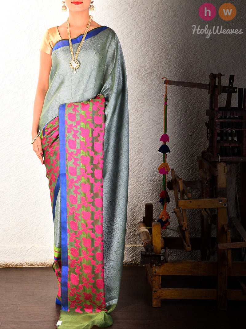 Grey Cutwork Brocade Woven Art Silk Saree - HolyWeaves