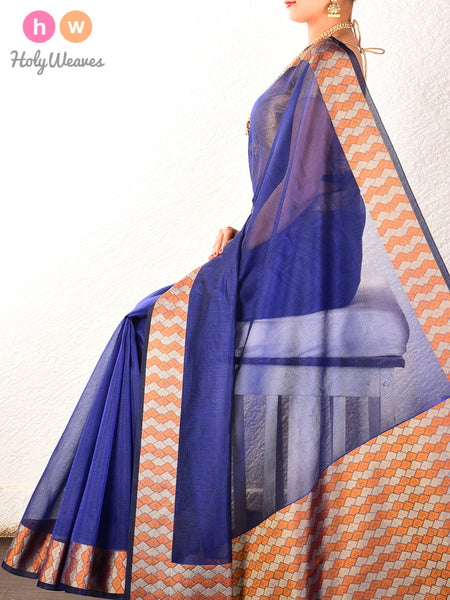 Blue Cutwork Brocade Woven Cotton Silk Saree