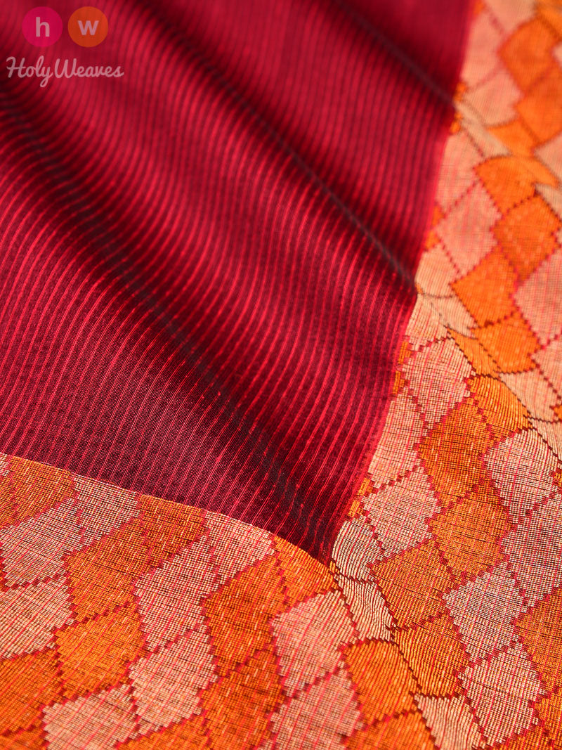 Maroon Cutwork Brocade Woven Cotton Silk Saree - HolyWeaves