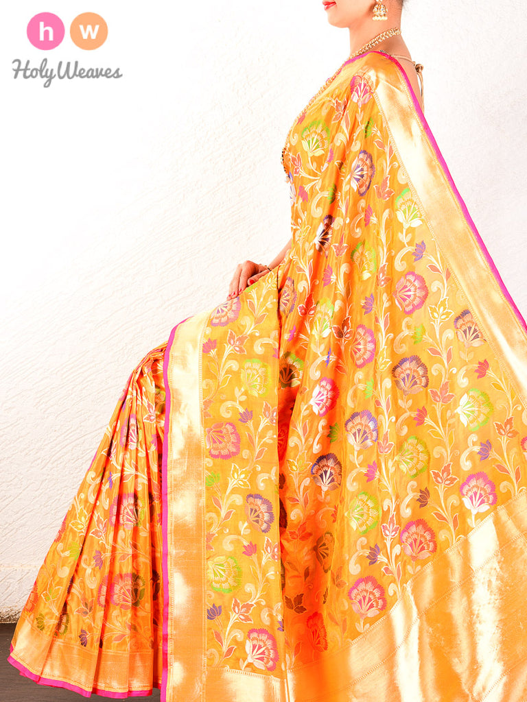 Golden Orange Banarasi Cutwork Brocade Handwoven Katan Silk Saree - HolyWeaves