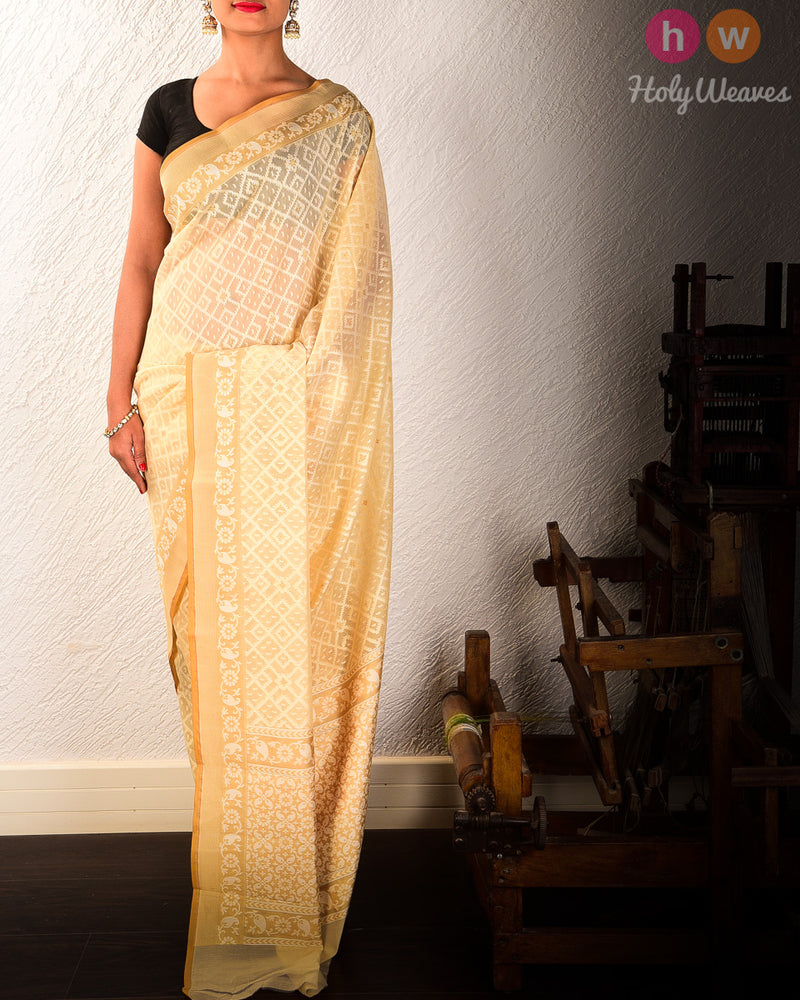 Beige Cutwork Brocade Woven Art Cotton Silk Saree - HolyWeaves