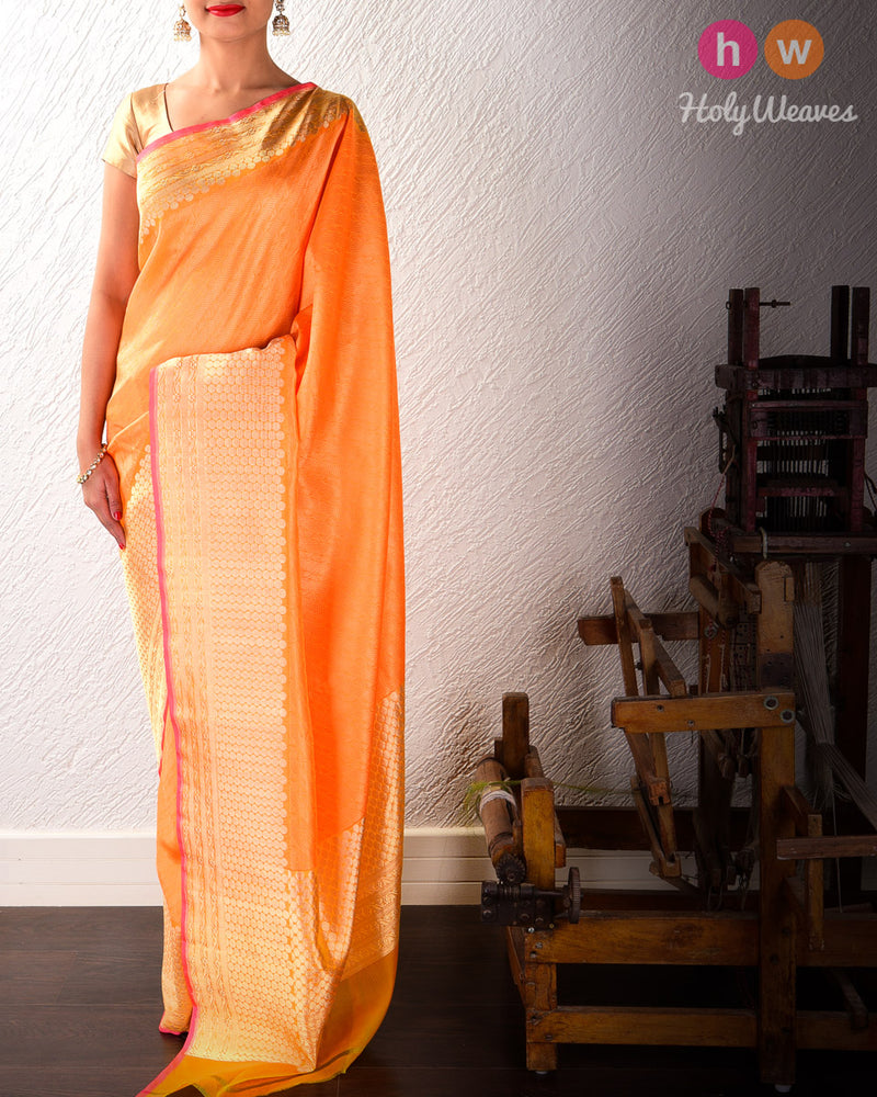 Orange Banarasi Tanchoi Brocade Kora (कोरा) Silk Saree- HolyWeaves
