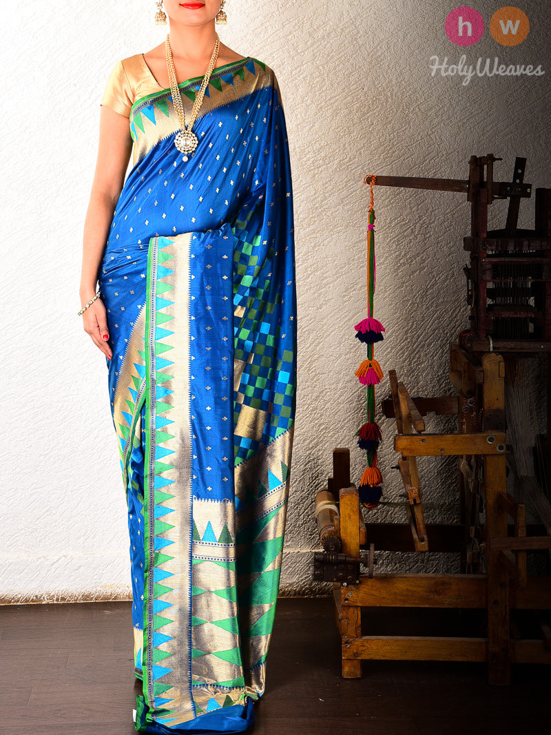 Blue Kadhuan (कढ़ुआँ) Brocade Handwoven Katan (कतान) Silk Saree - HolyWeaves