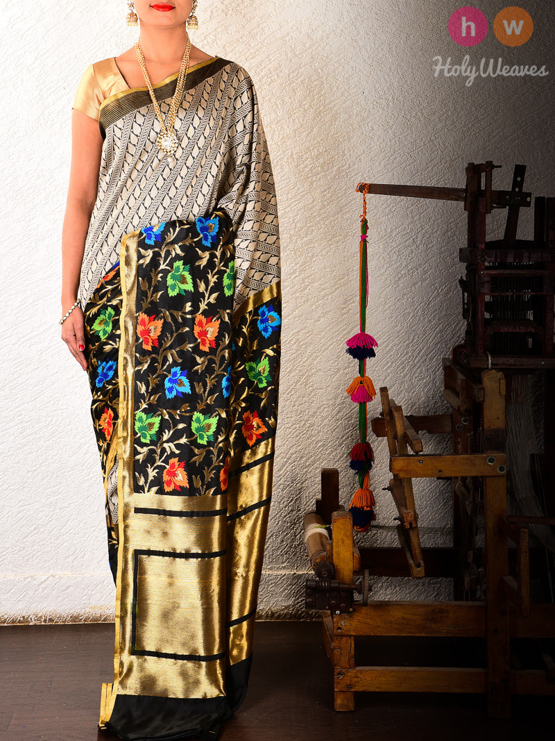 Black Cutwork Brocade Handwoven Kora (कोरा) Silk Saree- HolyWeaves