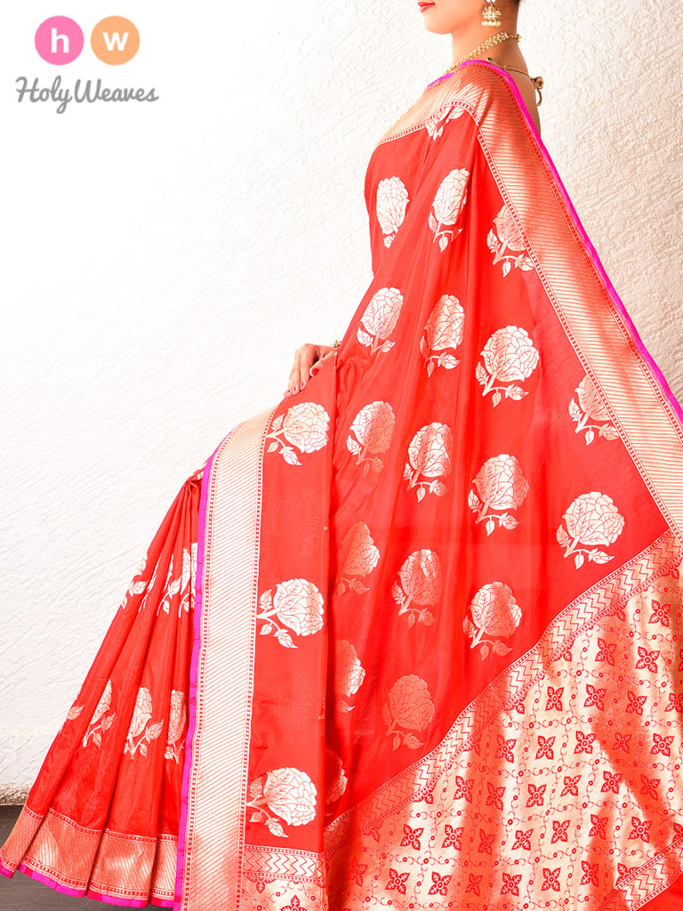Red Cutwork Brocade Handwoven Katan Silk Saree - HolyWeaves