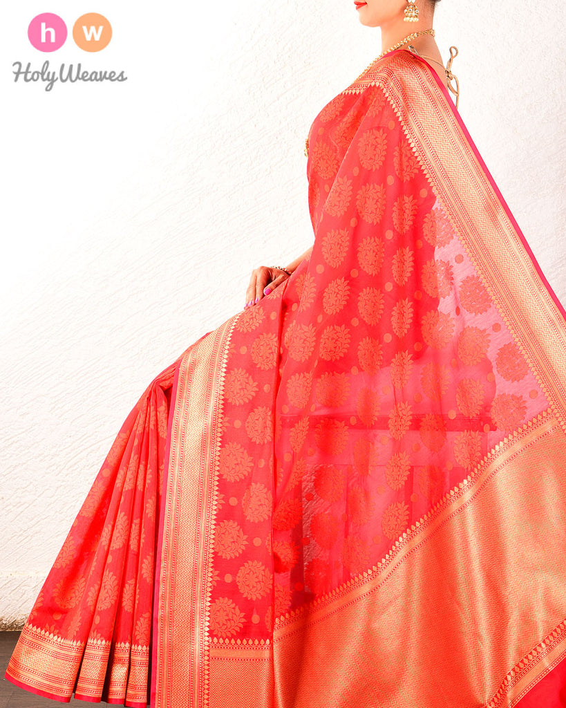 Red Banarasi Cutwork Brocade Woven Art Cotton Silk Saree