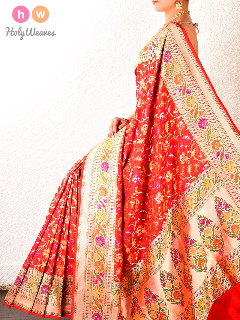 Red Jamdani Brocade Handwoven Katan Silk Saree - HolyWeaves