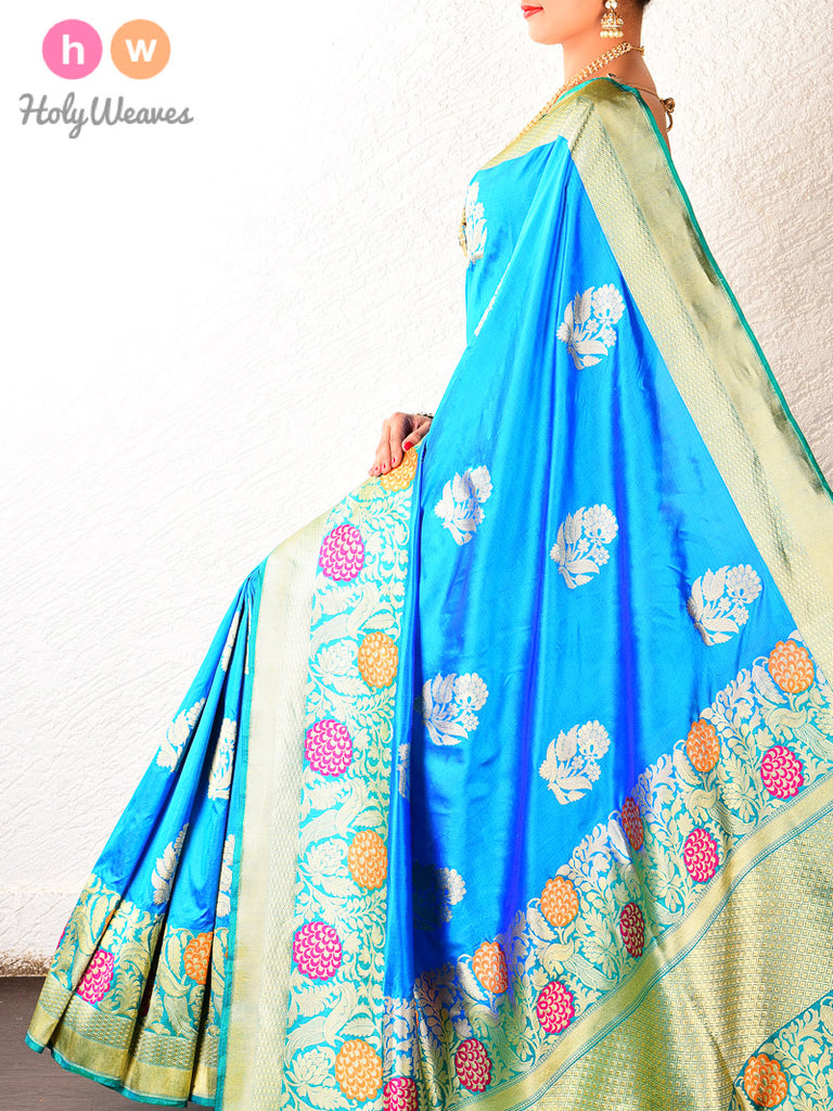 Blue Kadhuan Brocade Handwoven Katan Silk Saree - HolyWeaves