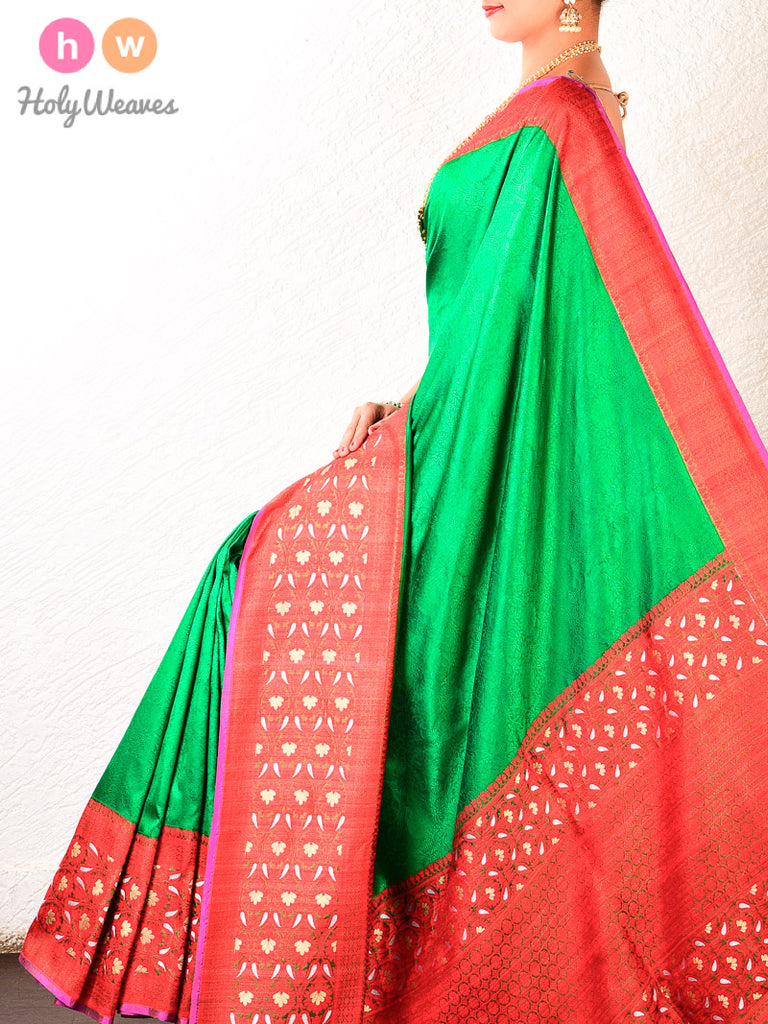 Green Tanchoi Brocade Handwoven Katan Silk Saree with Kadiyal Borders - HolyWeaves