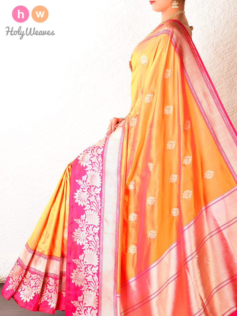 Orange Kadhuan Brocade Handwoven Katan Silk Saree with Kadiyal Borders - HolyWeaves
