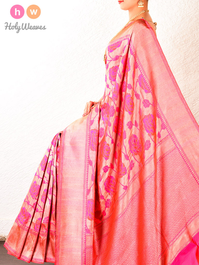 Pink Brocade Handwoven Katan Silk Saree - HolyWeaves