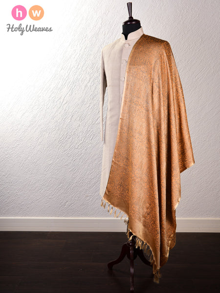 Beige Banarasi Jamawar (जामावार) Handwoven Silk Wool Shawl