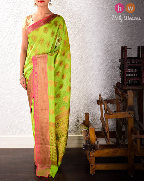 Green Cutwork Brocade Woven Art Cotton Silk Saree
