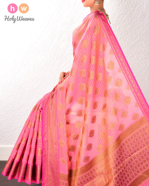 Peach Cutwork Brocade Woven Art Cotton Silk Saree