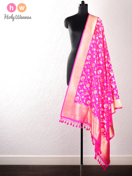 Pink Banarasi Shikargah (शिकारगाह) Cutwork Brocade Handwoven Katan (कतान) Silk Dupatta