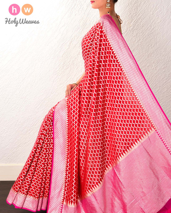 Red Banarasi Cutwork Brocade Handwoven Khaddi (खड्डी) Georgette Saree with Geometric Jaal - HolyWeaves