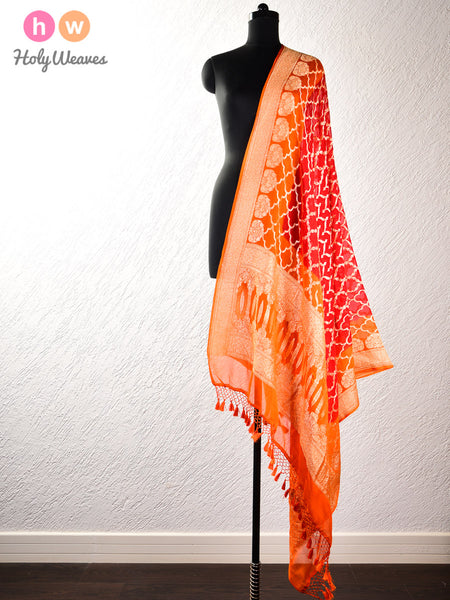 Red-Orange Banarasi Jaal Cutwork Brocade Handwoven Khaddi (खड्डी) Georgette Dupatta