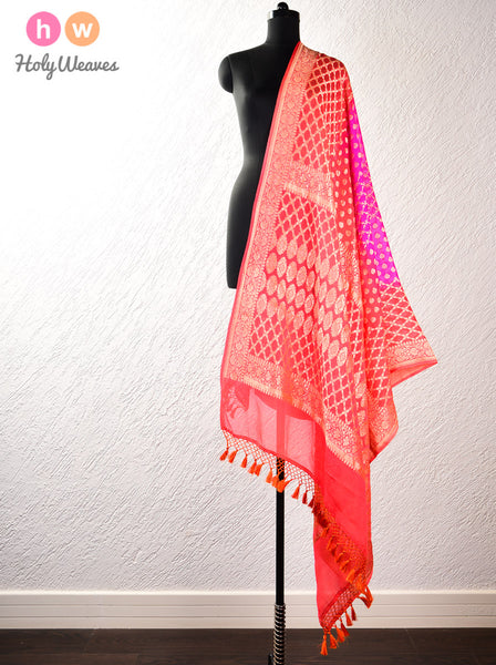 Pink-Orange Banarasi Jaal Cutwork Brocade Handwoven Khaddi (खड्डी) Georgette Dupatta
