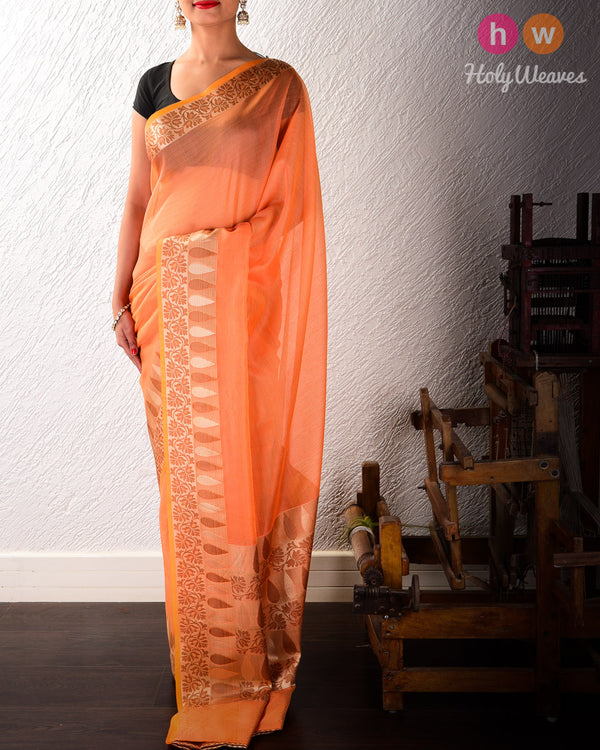 Orange Banarasi Cutwork Brocade Woven Art Cotton Silk Saree with Light Gold and Antique Weave- HolyWeaves