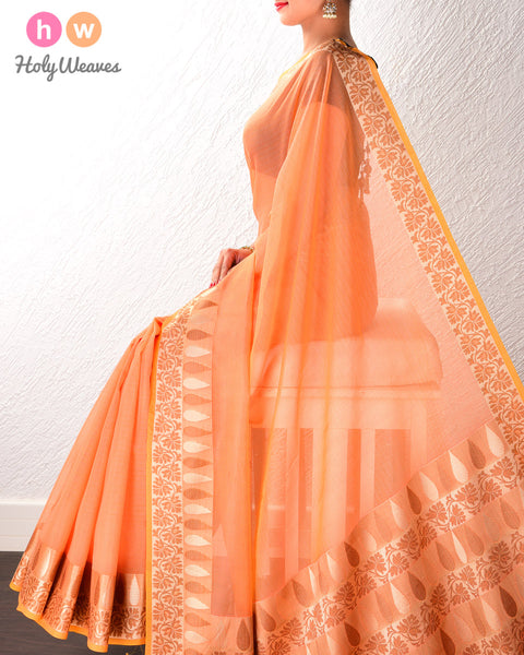 Orange Banarasi Cutwork Brocade Woven Art Cotton Silk Saree with Light Gold and Antique Weave