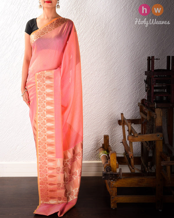 Pink Banarasi Cutwork Brocade Woven Art Cotton Silk Saree with Light Gold and Antique Weave- HolyWeaves