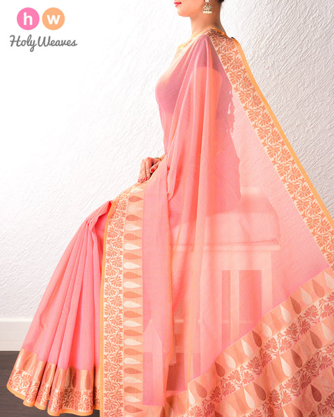 Pink Banarasi Cutwork Brocade Woven Art Cotton Silk Saree with Light Gold and Antique Weave