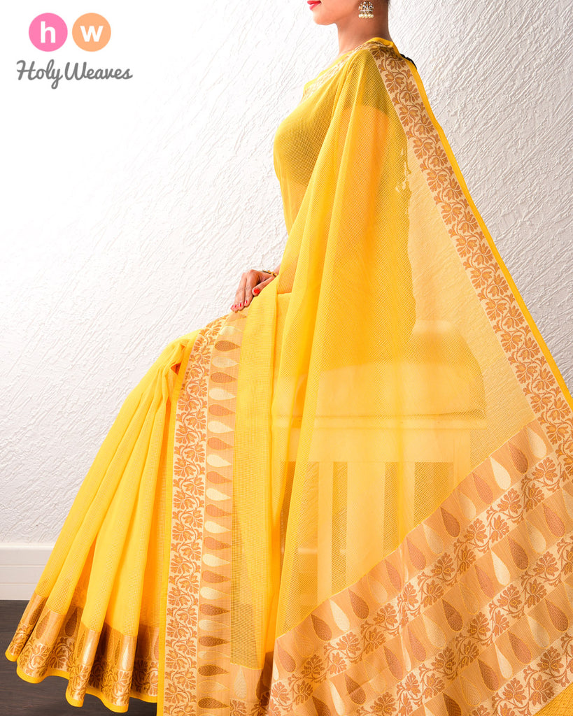 Yellow Banarasi Cutwork Brocade Woven Art Cotton Silk Saree with Light Gold and Antique Weave