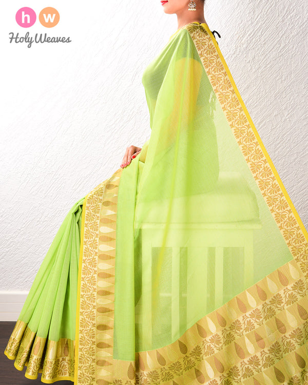 Green Banarasi Cutwork Brocade Woven Art Cotton Silk Saree with Light Gold and Antique Weave- HolyWeaves