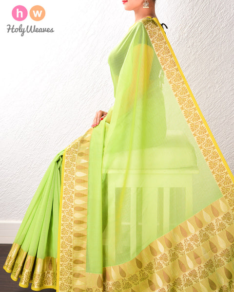 Green Banarasi Cutwork Brocade Woven Art Cotton Silk Saree with Light Gold and Antique Weave