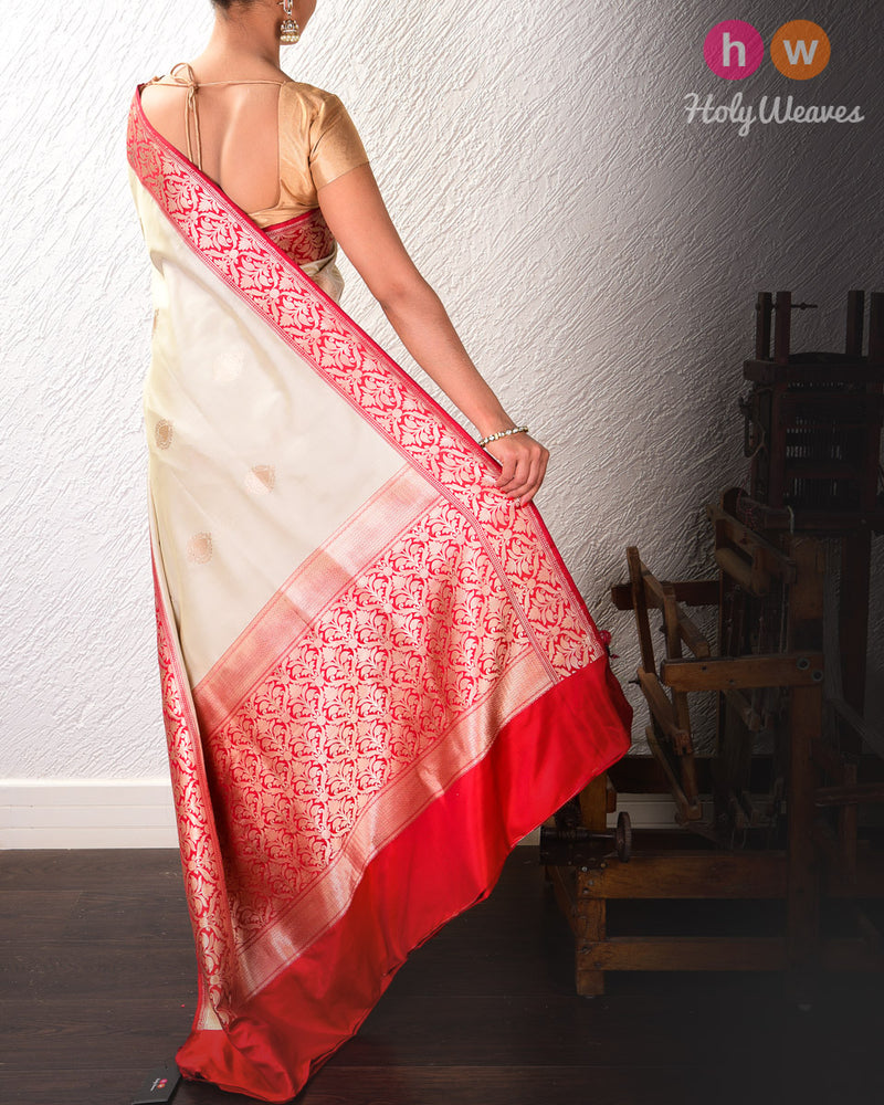 Cream Banarasi Kadhuan Brocade Katan Silk Saree with Red Kadiyal Brocade Border-Pallu - HolyWeaves