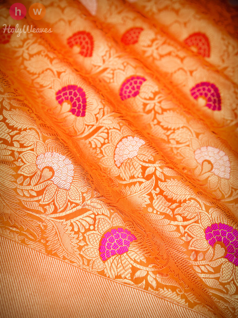 Orange Banarasi Jangla Kadhuan Brocade Handwoven Katan Silk Saree