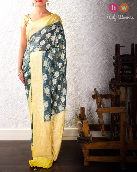 Pine Gray-Yellow Banarasi Cutwork Brocade Handwoven Khaddi Georgette Saree