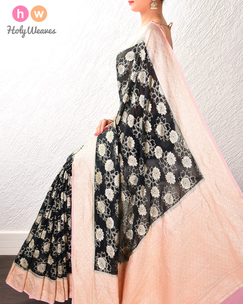 Black-Peach Banarasi Cutwork Brocade Handwoven Khaddi Georgette Saree